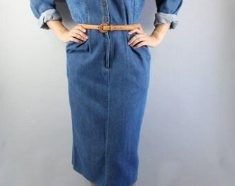 Vintage 80s Women's Blue Denim Work Long Sleeve Southwestern Fall Winter Rugged Casual Shirtdress Day Dress