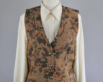 Vintage 90s Women's Brown Floral Tapestry Steampunk Victorian Revival Button Down Vest
