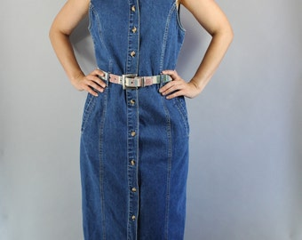 FREE SHIPPING Women's Denim Dress, Vintage 90s, Minimal, Neutral, Basic, Sleeveless, Summer Festival, Midi, Country, Southwest, Size Medium