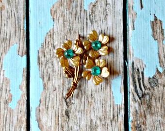 Vintage Gold Flower Pin - Gold Aqua Flower Pin - Floral Brooch - Blue Stones - Spring Flower Brooch - Flower Bouquet Pin - Blue Rhinestones