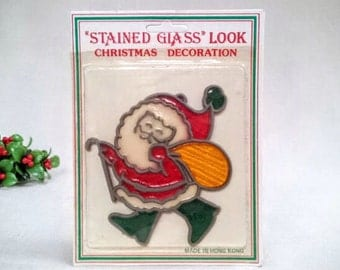 "Vintage Christmas Santa Claus Ornament or Sun Catcher, ""Stained Glass Look"" Christmas Decoration, Sealed in Original Package, 1970s Vintage"