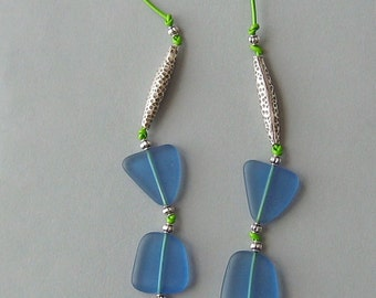 Blue Frosted Glass Beads with Furnace Glass Pendant and Thai Silver Beads on Lime Green Leather Necklace