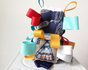 Blue Tepee Baby Block, Red Gold Pale Turquoise Navy Blue, Modern Geos, Triangles, Wild & Free Baby, Ribbons Rattle Sensory Toy, Shower Gift