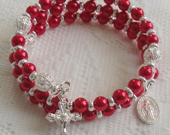 Five Decade Catholic Rosary Bracelet - Red Glass Pearls with Small Miraculous Medal - Available in Gold or Silver