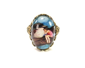 Friendship Ring- Fairy and Bird Art Ring- Antique Brass- Adjustable- Steampunk Friendship Ring