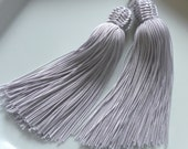 Moroccan tassels, silver gray art silk, set of 2