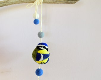 Blue Tit, needle felted wool mobile