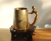 Old Brass Tankard / Mug with Sculptured Mermaid Handle