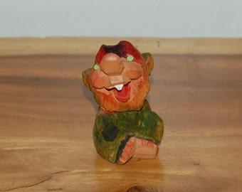Henning Laughing Seated Green & Red Troll Carving 1st of 7 ~ Norwegian Folk Art ~ Signed Henning Engelsen Wood Carved Troll