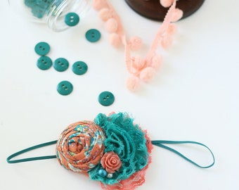 Jetty Jubilee-  teal and coral rosette chiffon flower headband bow