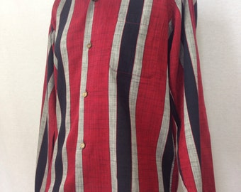 Red 1950s Shirt / Vintage Striped Boys Top / King George VI Button / Best Buttons Ever Long Sleeve Shirt / Black Stripes Collar Top Vintage
