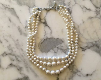 White Faux Pearl Necklace . Flapper Long Strand