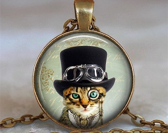 The Mad Catter necklace, Steampunk Cat pendant, cat necklace, steampunk jewelry cat lover jewelry purse hook key chain