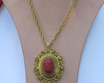 Vintage Red Chinese Cinnabar Pendant Rhinestone Pendant Necklace Runway