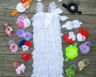 Lace Romper Baby Romper Lace Petti Romper 1st Birthday Outfit Petti Lace Romper Toddler Romper Girls Romper White Romper Newborn Romper