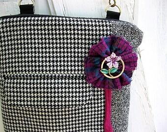 Crossbody bag, black herringbone purse, shoulder bag, black tweed purse, iPad case, suit coat bag, front pocket, long strap, zipper close