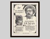 Alexandre Dumas, Vintage Art Print, English Teacher Gift, Book Lovers Gift, Librarian Gift, Literary Art, French Author, Classroom Art