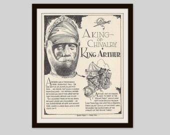 King Arthur, Vintage Art Print, Historical Figure, Classic Literature, Medieval, Mythology, Camelot, Knights, Book Lover Gift, Literary Art