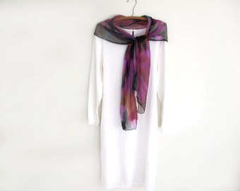 Crinkle Silk Chiffon Silk Scarf , Hand -Painted , Magenta , Golden Bronze, Dark Jade Green, Floral Desin