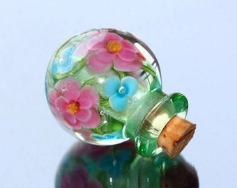 Lampwork Purfume Bottle / Glass vessel / Lampwork Flower Bead / SRA