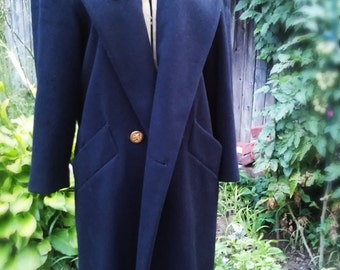 Forecaster of Boston - retro 70s long navy blue, lined, velvet collar, brass military style buttons, pockets, single breasted wool pea coat