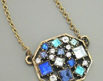 Art Deco Necklace - Pendant Necklace - Aquamarine Sapphire Blue Necklace - Rhinestone Necklace - Antique Gold Necklace - handmade jewelry