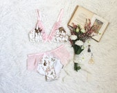 Limited Edition Woodland Toile Pastel Pink Ruffle Lingerie Set Handmade to Order