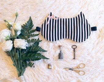 The Cat's Pyjamas Black and White Stripe Cat Ear Sleep Mask Blindfold Handmade to Order