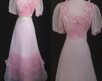 1970s Vintage Pink Dip Dyed Dress - Prom, Halloween, Special Occasion - Medium-Large