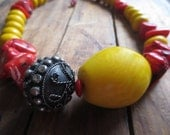 Statement Necklace, Tagua Necklace, Yellow Tagua Keg Bead, Antique Silver Bead, African Moroccan Resin Beads, Red Coral Beads
