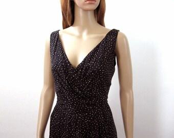 1990s Vintage Silk Dress Low Neck Faux Wrap Black Taupe Polka Dot Chiffon Dress / Small
