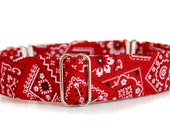Martingale Dog Collar, Red Bandana Martingale in 1.5 inch or 2 inch wide. Choose your width