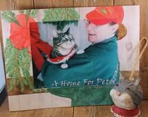 Children's Book Gift Set, Original Book with Cat Ornament handmade from papier mache,