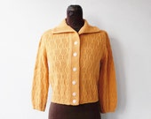 vintage 1950s cardigan in pumpkin spice knit
