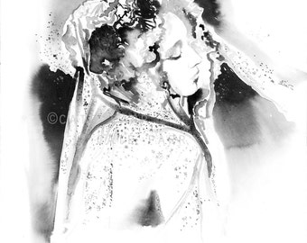 Original Watercolor, McQueen, Silvermoon Embroidered Chiffon Veil, Fashion Illustration, Watercolor Fashion Illustration, Fashion Poster
