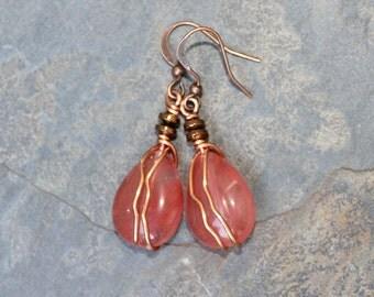 Cherry Quartz Earrings, Pink Earrings, Natural Stone Earrings, Wire Wrapped Earrings, Pink and Copper Earrings, Dangly Earrings, Handmade