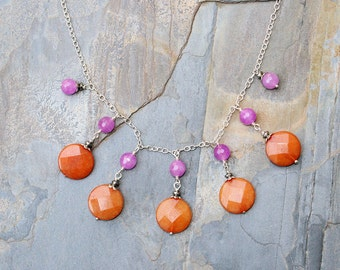 Colorful Necklace, Statement Necklace, Stone Necklace, Bib Necklace, Orange Necklace, Purple Necklace, Handmade Necklace, Summer Necklace