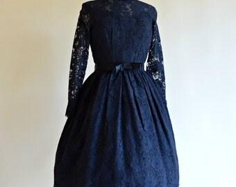 Vintage 1950s Lace Party Dress...Midnight Black Cotton Lace Cocktail Dress