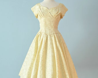 Vintage 1950s Party Dress...GIGI YOUNG Ivory Embroidered Party Dress Wedding Dress