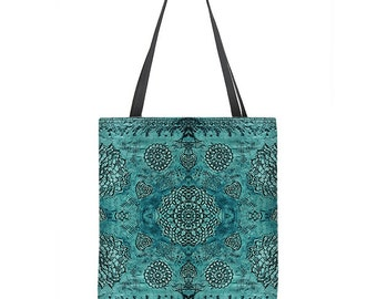 Boho Tote Bag, teal tote bag, floral lace print, bohemian tote bag, large tote, teal bag, turquoise tote bag, gift for her, stylish bag