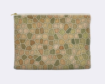 Cosmetic bag, abstract printed mosaic pattern, earth tones, tan, zippered pouch, pencil pouch, toiletry bag, makeup bag, pencil case