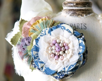Floral Corsage Pin, Colorful Fabric Flower Brooch, Gift for Women, Mother of the Bride Corsage, Wedding Sash Pin, Unique Textile Jewelry