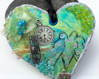 Turquoise mixed media paper pendant
