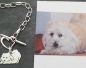 Custom TaGette Charm Chain Bracelet .. Sterling Silver Maltese Pet Portrait Dog silhouette Jewelry Memoralize Keepsake, Mothers Day