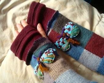 Fingerless Gloves  wool womens Woollen with butterfly moth