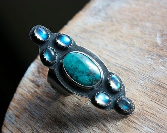 Vintage Royston Turquoise, Labradorite, Sterling Silver Cocktail Ring... Size 8... I Dream In Color...