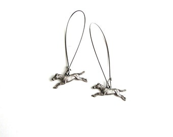 silver horse earrings . surgical steel hoop, long dangle earrings