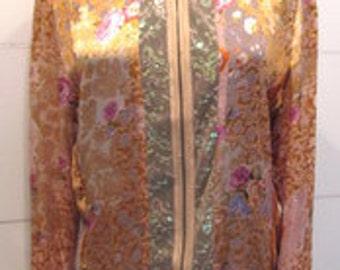 Lace Top with Velvet Burnout Design.  Floral Lace Boho Top.  Boho Zip Up Shirt Jacket.  Floral Lace Top.  Velvet Top. Silk Jacket.