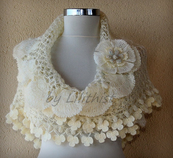 Ivory Gold Bridal Shawl, Crochet Shawl, Wedding Wrap Shawl, Bridesmaid Ruffle Shawl Stole, Bridal Shrug Shawl Bolero,  Bridal Accessories
