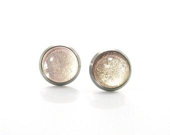 Pure Titanium Earrings for sensitive ears Beige tan Gold Shimmering Hypoallergenic   Titanium Jewelry   Brown gold Metallic Glitter - (N082)